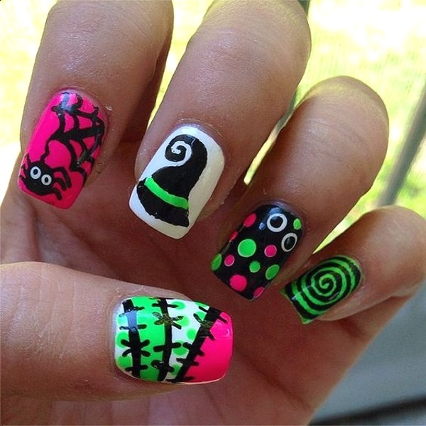 Cute Halloween Nail Art Designs Pink Lover