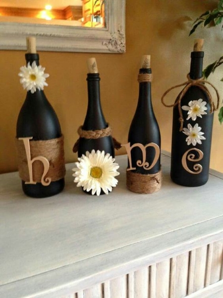 decorated glass bottles. image source 60 DIY Glass Bottle Craft Ideas for a Stylish Home  Pink Lover
