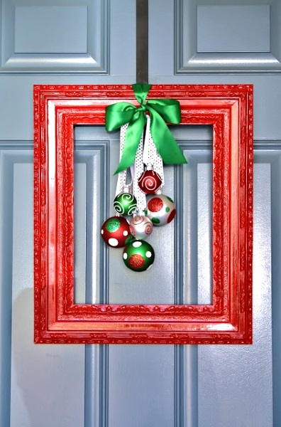 Simple Diy Christmas Door Decorations Image Source Picture Frame Wreath With Snowflakes