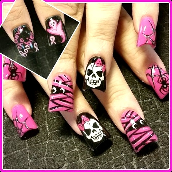 pink-halloween-nail-art-designs - Pink Lover