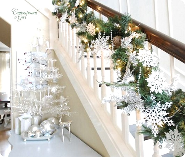 image source image source simple snowflakes for stairs on christmas - How To Decorate Stairs For Christmas