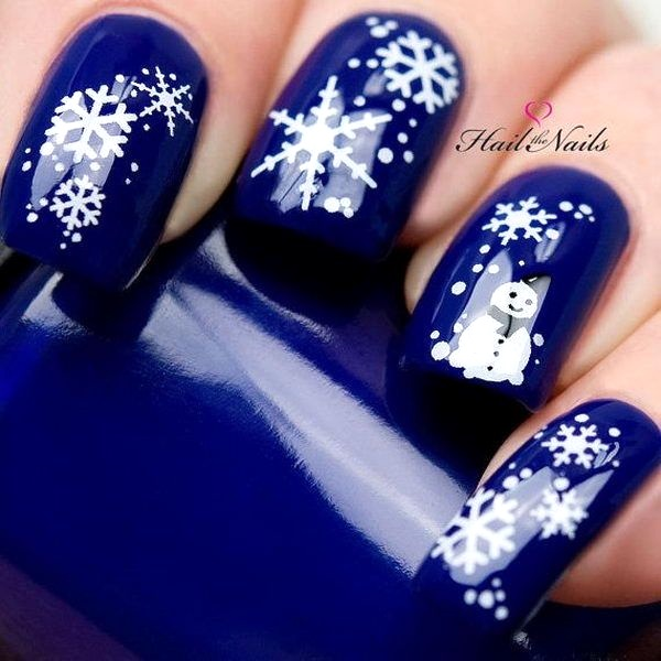Best christmas nail art designs pink lover snowflakes blue christmas nail art image source prinsesfo Images