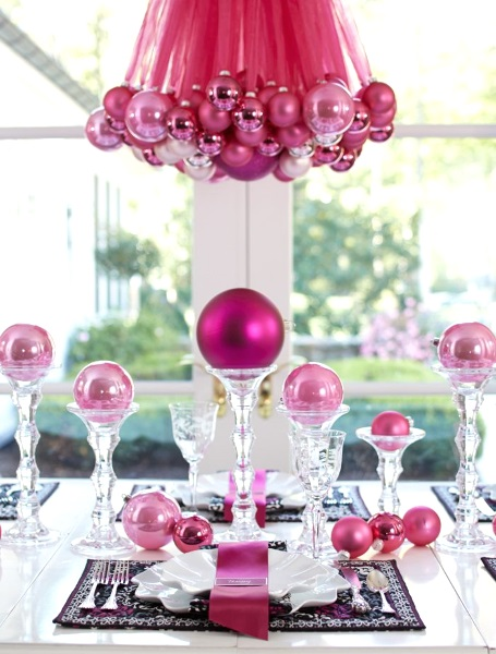 50 best diy christmas table decorations pink lover. Black Bedroom Furniture Sets. Home Design Ideas