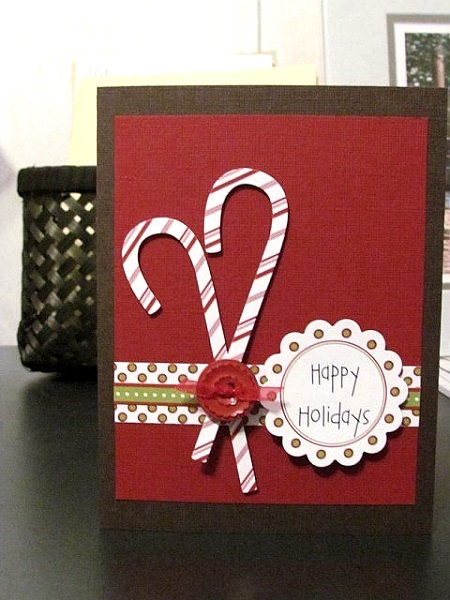 candy cane diy christmas card image source - Handmade Christmas Cards Ideas
