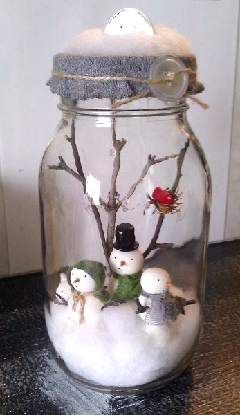 Christmas Snow man Manson jar