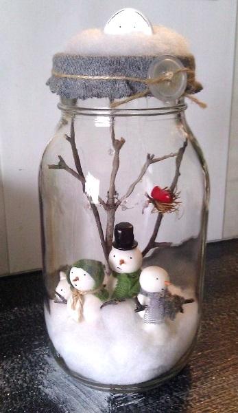 Christmas Snow man Manson jar