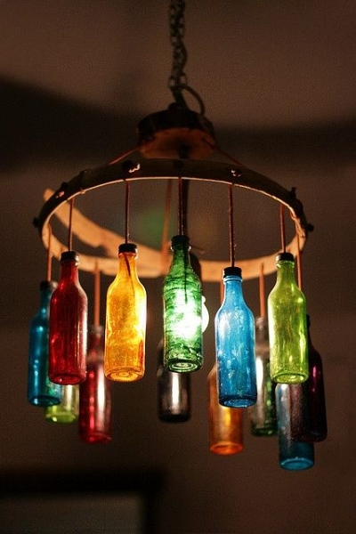 50 diy chandelier ideas to beautify your home pink lover diy glass bottle chandelier image source solutioingenieria Images