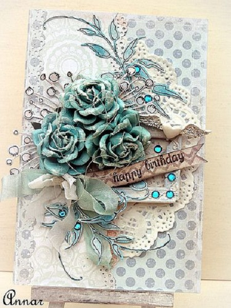 Handmade birthday cards pink lover for Elegant homemade christmas cards