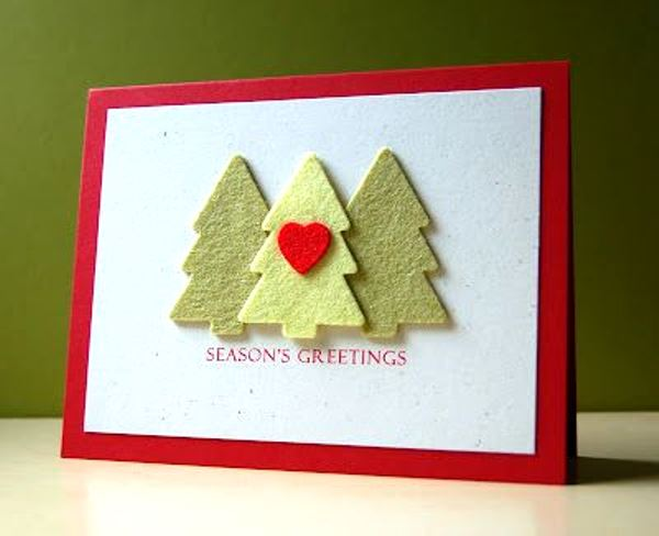 Simple handmade christmas cards for Handmade christmas card making ideas