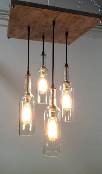 50 diy chandelier ideas to beautify your home pink lover homemade bottle chandeliers aloadofball Gallery