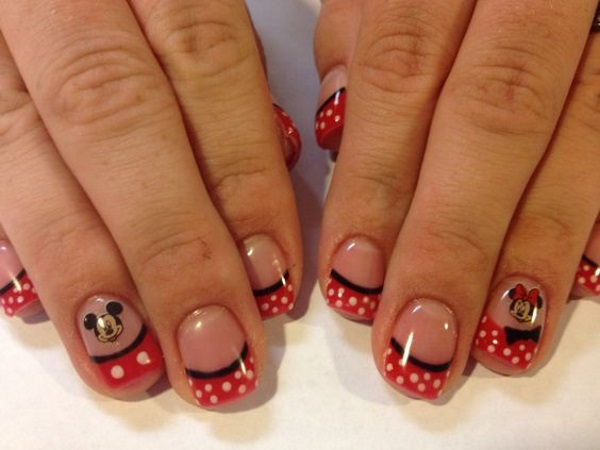 Mickey Mouse Nail Art Design Pink Lover