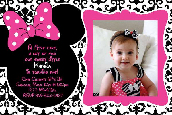 Minnie Mouse Birthday Party Ideas Pink Lover - Birthday invitation for one year baby