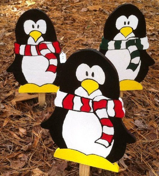 penguins with scarf and hat wooden christmas outdoor decorations hand painted image source - Penguin Outdoor Christmas Decorations