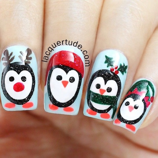 Penguin Nail Art Designs: Best Christmas Nail Art Designs