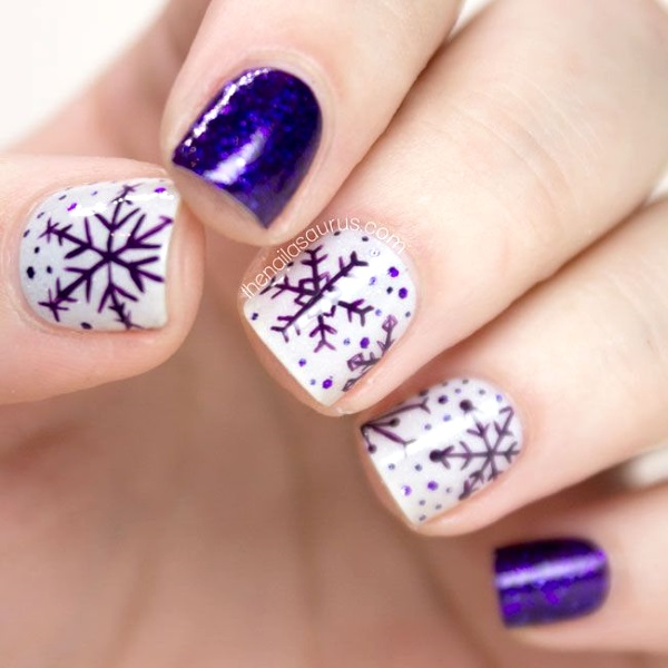 Snowflakes Purple Christmas Nail Art Image Source