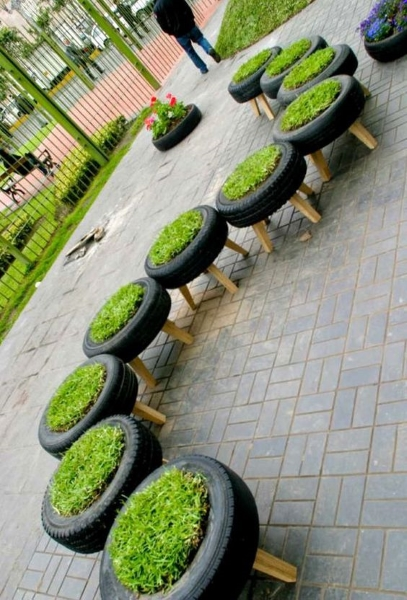 image source image source painted tires gardening - Garden Ideas Using Tyres