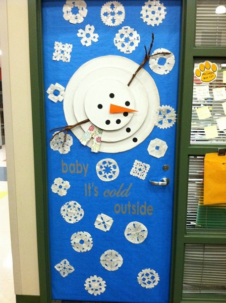 beautiful snowman christmas door decoration ideas image source