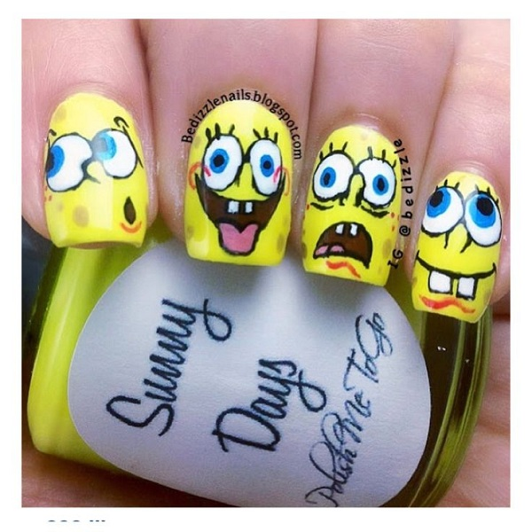 Spongebob Nail Art Designs 1