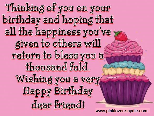 Happy Birthday Wishes for a Friend Pink Lover – Happy Birthday Wishes Greetings for Friends