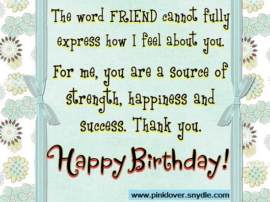 Happy Birthday Wishes for a Friend Pink Lover – Inspirational Birthday Card