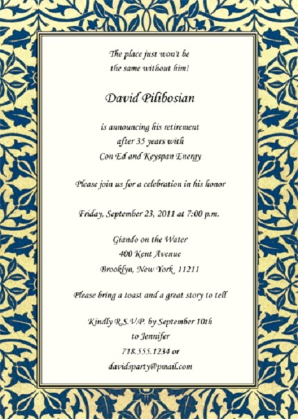 Retirement Program Retirement Party Invitation Personalized