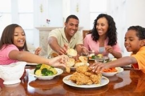 Family Having A Meal Together At Home