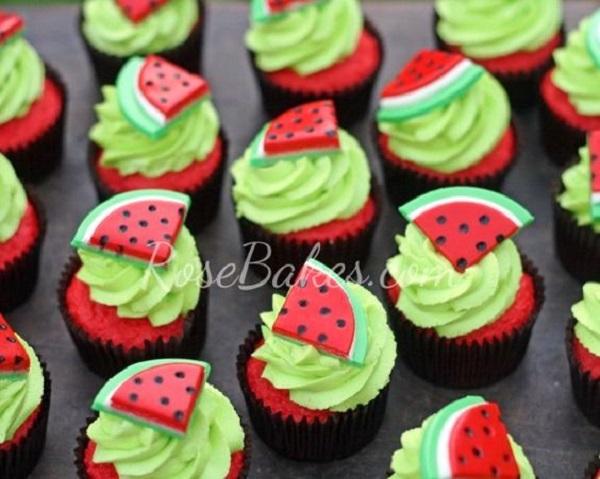 Watermelon Birthday cupcakes