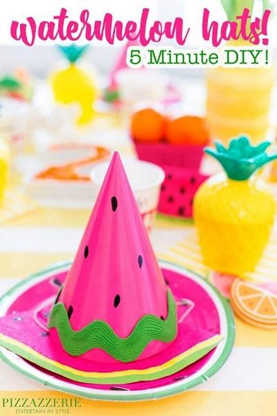 Watermelon Birthday Party Hats