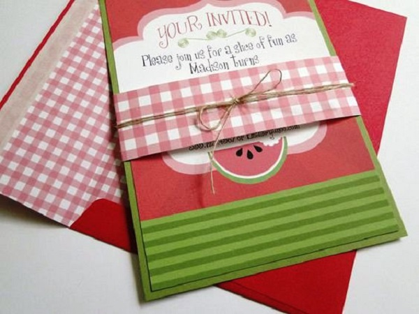 Watermelon Birthday Party Invites