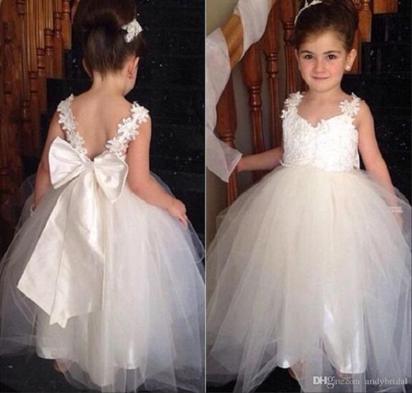 White Elegant Flower Girl Dresses