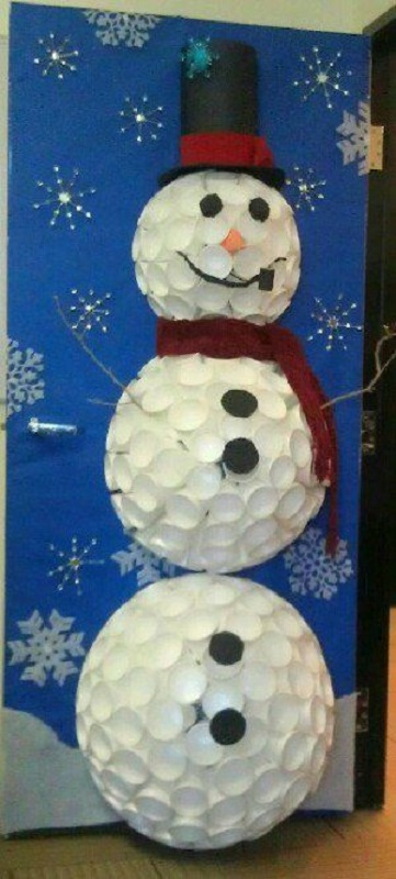 Christmas decoration ideas for office that everyone will love for 3d snowman door decoration